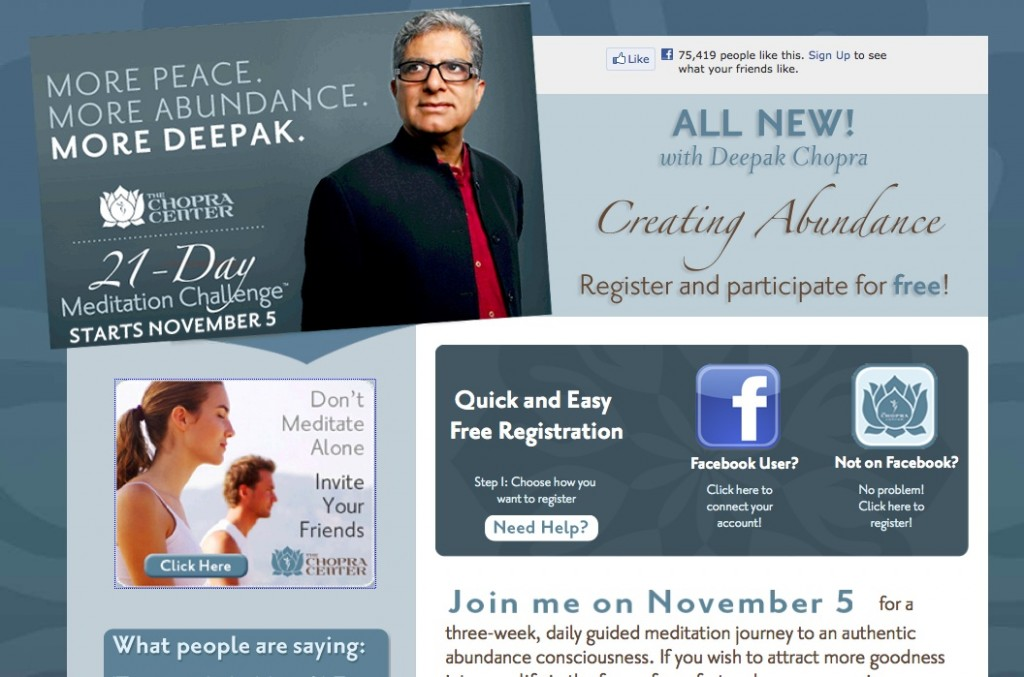 Chopra Center 21-Day Meditation Challenge Screen Shot November 2012