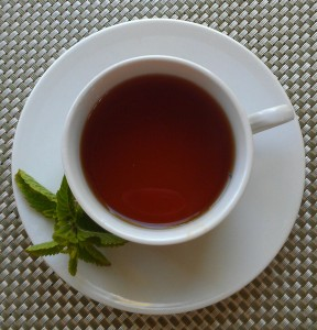 Cup of Black Tea with Peppermint Sprig