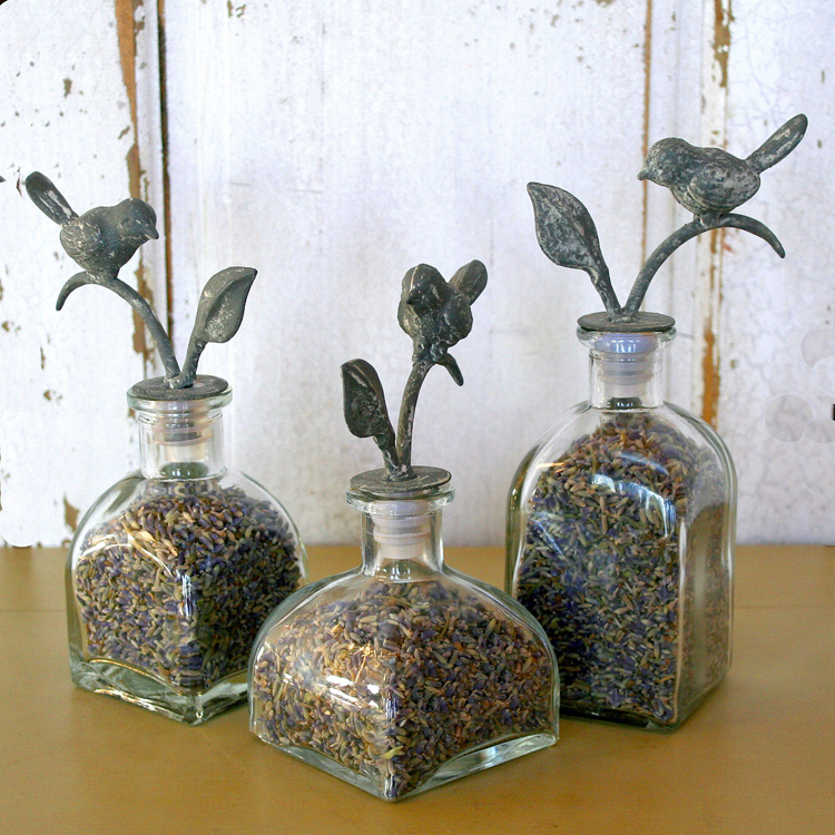 Trio of Lavender Bud Bottles with Bird Motif.