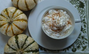 Pumpkin Chai Tea Latte with Whipped Cream and Cinnamon on Top