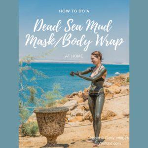 Woman applying Dead Sea Mud near the Dead Sea.