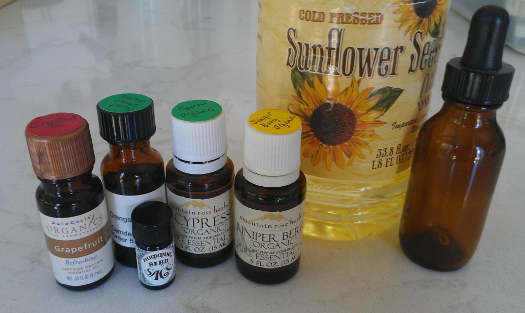Got a belly you're not happy about? Reduce subcutaneous fat in the abdominal region with this easy DIY massage blend consisting of grapefruit, sweet orange, sage, cypress, and juniper berry essential oils added to a carrier oil, such as sunflower seed oil. Studies show it works!