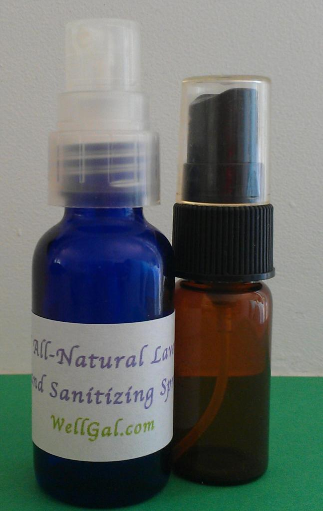 Glass cobalt blue and amber spray bottles, which are available in many different sizes, such as 1, 2, and 4 ounces, are another option to use for your non-toxic, homemade natural hand