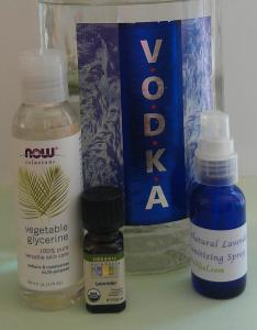 All it takes is just four simple ingredients to make an effective, germ-busting, but yet gentle on the skin, hand sanitizer: vodka, lavender essential oil, water, and glycerin.