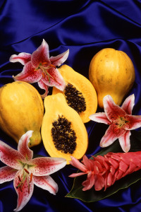 Papayas contain the enzyme papain, which helps loosen the bonds between dead skin cells, thereby exfoliating the skin and reducing the appearance of fine lines, wrinkles, and large pores when used topically in spa and beauty treatments. Photo by Scott Bauer, USDA ARS [Public domain], via Wikimedia