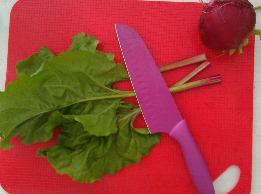 Cut off the tough stems when preparing the beet leaves.