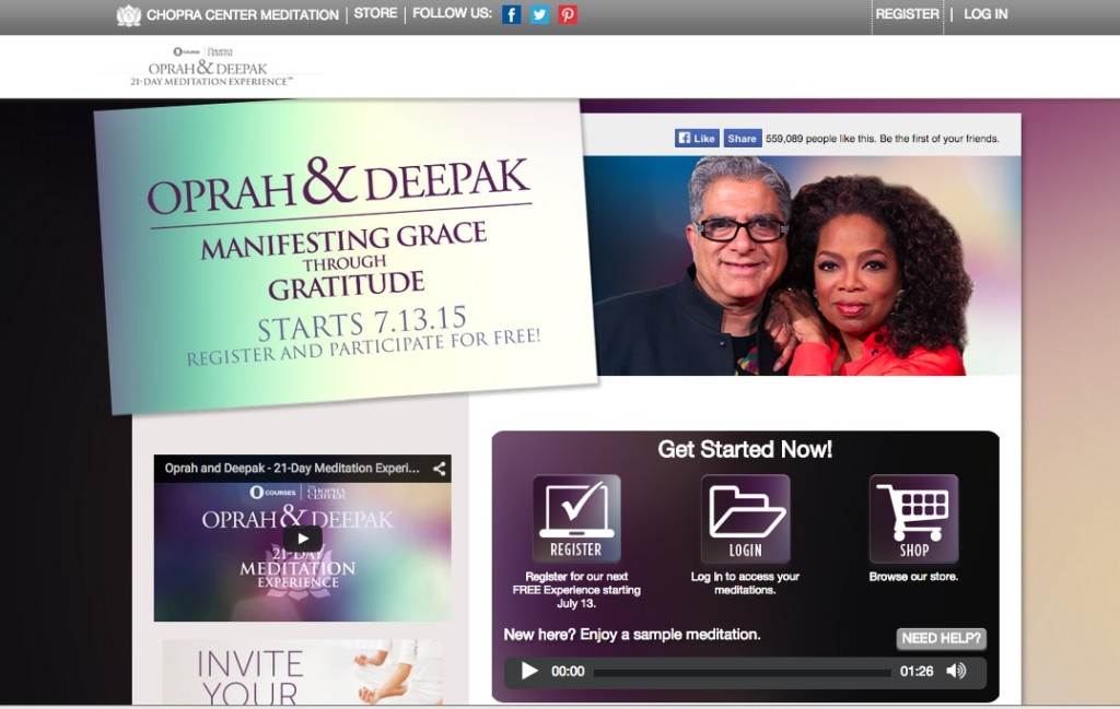 """Manifesting Grace Through Gratitude"" by Deepak Chopra & Oprah Winfrey is a free online 21-day meditation program that's easy to sign up from their main web page: chopracentermeditation.com."
